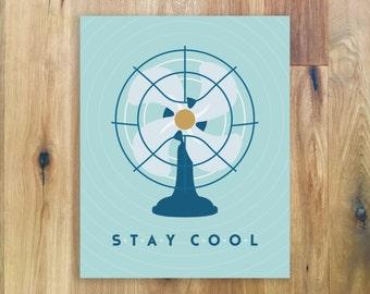 Stay Cool Fan Print - Retro Fan Wall Art - Home Decor - Office Decor - Mid Century Modern Print