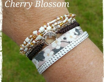 "Cuff multi-row collection ""Summer"". Cherry Blossom"