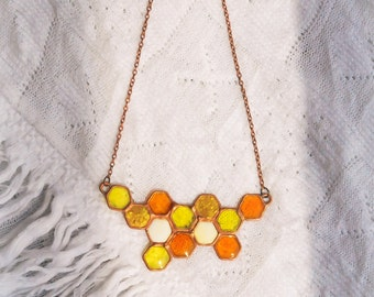 Honey necklace. Honeycombs. Honeycombs necklace. Yellow necklace. Lucid necklace. Sweet neklace. Summer necklace.