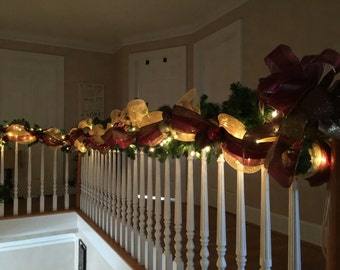 Christmas Stairway Garland, Lighted Swag, Elegant Old World Garland, SHIPPING INCLUDED, Stair Railing, Banister, Staircase Decor