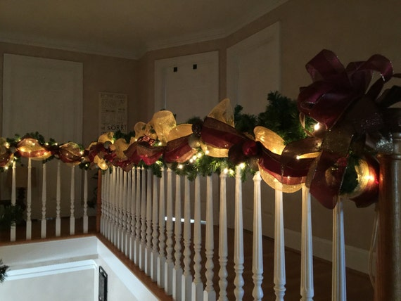 Christmas stairway garland lighted swag by for Christmas swags and garlands to make