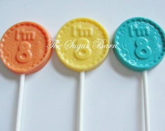 8th BIRTHDAY CHOCOLATE Lollipops*12 Count*I'm 8*Party Favors*8th Birthday*8 Year Old Party Favors*Number 8*#8 Birthday