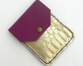 Leather business card holder. Leather card case. Leather card holder. Small card purse. Card pouch. Purple leather card case