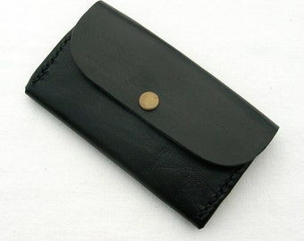 Leather coin and card purse. Handstitched black leather card holder. Small leather purse. Black leather coin purse. Leather coin holder