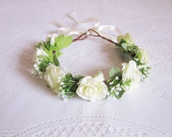 Cream Roses with Baby's Breath Flower Crown / wedding, bridal, elegant, pure, headpiece, party, floral