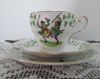 Royal Standard Emerald Isle /Irish Dancers/Shamrocks/St Patrick's Day Teacup/Saucer/Plate  #16066