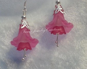 Spring Flower Earrings ~ Lucite Trumpet Calla Lily Flower