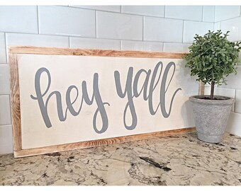 Hey Yall Sign | Home Decor | Wood Sign | Rustic | Hand Painted | Framed Wood Sign | Blogger | Fixer Upper Style | Farmhouse Sign