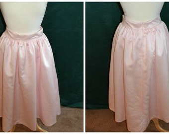 Sample Sale- light pink satin 'April' skirt. Circle skirt with wide waistband and pockets! Flirty, girly party or casual separates. On sale!