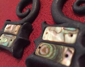 Mother of Pearl Purple Gauged Earrings- 4g