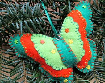 Wool Felt Butterfly Ornament Hanger In Lime Orange & Green
