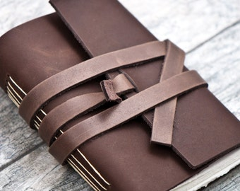 50% OFF - Dark Brown Premium Leather Personalized Journal Sketchbook Notebook