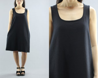 Lord & Taylor Merino Wool Tank Pocket Midi Dres Women's Size Medium 80's Vintage