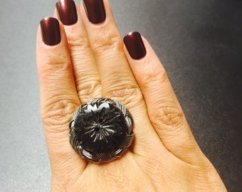 Steampunked Upcycled Vintage Button Ring