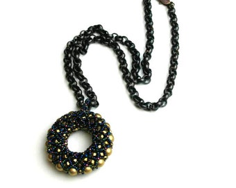 Beaded Donut Pendant with Chain