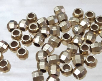 50 pcs.  3.2 mm. Faceted Brass Beads, Circle Faceted (M 007)