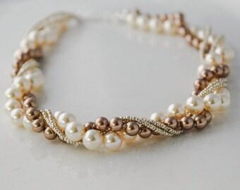 Twisted Pearl Bracelet Bridal Chunky Bracelet Statement Pearl Wedding Jewelry Bridal Jewelry Pearl Statement Bracelet Gift for her under 40