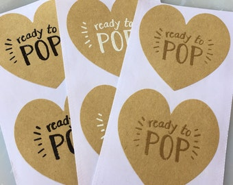 Handmade Ready to Pop Baby Shower Party Favor Stickers-Popcorn Baby Shower Favor Sticker-Cake Pop Favor Sticker-Handmade Favor Tags-20ct