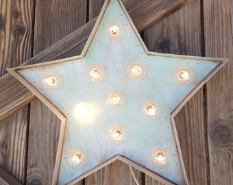 """STOCK BLOWOUT - 16"""" Star Lighted Wood & Metal Marquee, JULY 4th Decor"""