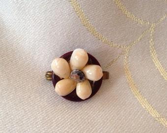 Shell & button brooch