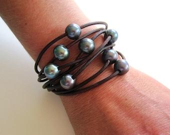 Leather Pearl Wrap Bracelet -Multi Strand Leather Bracelet - Pearl and Leather Wrap Bracelet - Pearl Bracelet - Leather and Pearl Jewelry