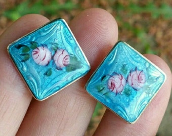 Vintage sterling enamel earrings