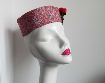 Vintage 1960's Pill Box Hat Mini Hat Pink Blue Red Races Formal Occasion