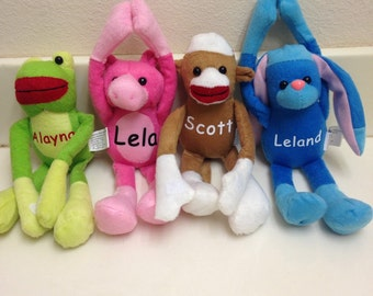 Personalized velcro long arm stuffed plush animals