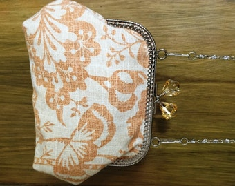 Cotton and linen Laura Ashley fabric clutch with metal clasp-vintage style