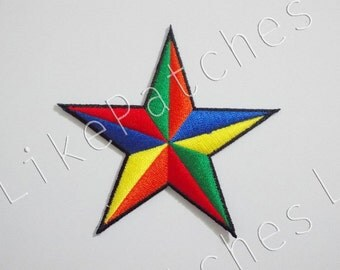 Colorful Star New Sew / Iron On Patch Embroidered Applique Size 8.8cm.x8.4cm.