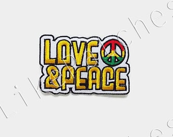 Love & Peace - Reggae Rasta Peace Sign White Banner New Sew / Iron On Patch Embroidered Applique Size 7.5cm.x5cm.