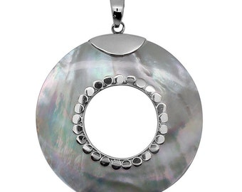 Mother of Pearl Round Shaped Pendant without Chain in Sterling Silver Nickel Free TGW 20.00 cts.