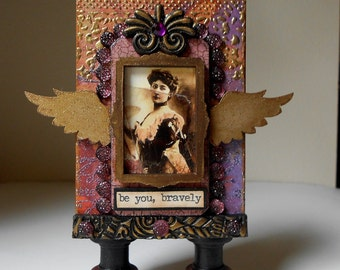 Be You Bravely, Artist Trading Block, Original Mixed Media, Purple and Gold Colors, Vintage Woman Photo, Wings
