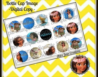 Moana images -INSTANT DOWNLOAD - Bottle cap Images - Cake toppers - Bow Center -  Disney Princess, Hawaii, Aloha