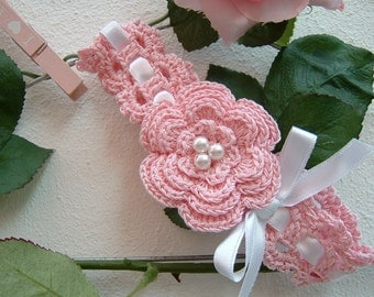 Baby Pink cotton-band hair band crochet baby girl hair Ribbon from christening-clothing-baby girls-baby Fashion