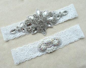 Vintage lace Wedding garter,Bridal garter sets, White lace garters, Garter Set ,with Pearl&Rhinestones,lace garter  ,WD29