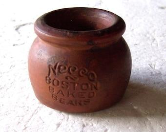 Miniature Bean Pot - vintage, Necco, pottery, Boston Baked Beans, candy,collectible