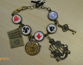 Handmade Alice in Wonderland bracelet poker playing card suits