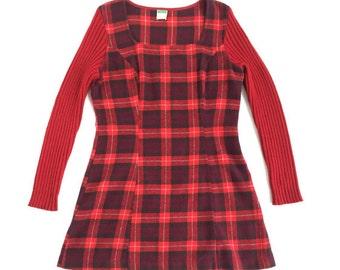 Vintage Plaid Wool Mini Dress United Colors of Benetton