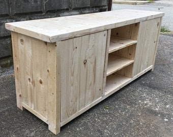 Unfinished Rustic Entertainment Center TV Stand Console Table DIY