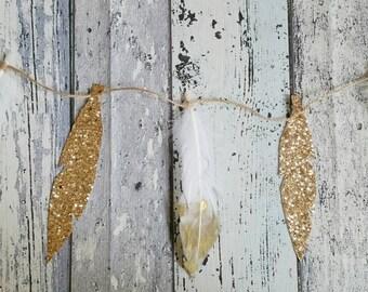 Gold dipped feather garland, bohemian wedding decoration, feather banner, tribal garland, boho nursery decor, metallic wall decor