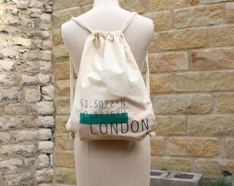 LONDON coordinates // Screen printed canvas shopping drawstring tote bag backpacks