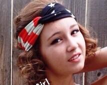 American Flag Turban Headband, USA Headband, Boho Flag Headband, Womens Turban Headband, Patriotic Flag Headband