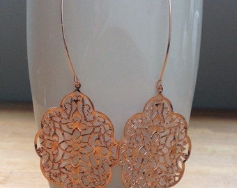 Large glossy rose gold gothic filigree earrings