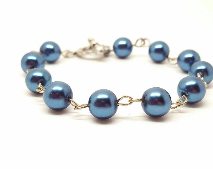 Blue pearl jewelry, light blue pearls, light blue bracelet, baby blue bracelet, light blue jewelry