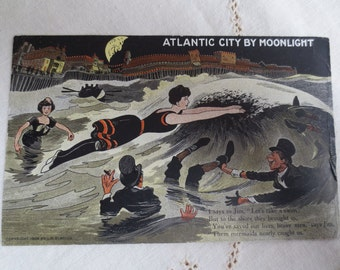 1908 Atlantic City By Moonlight Postcard - Unique Vintage Art and Humor