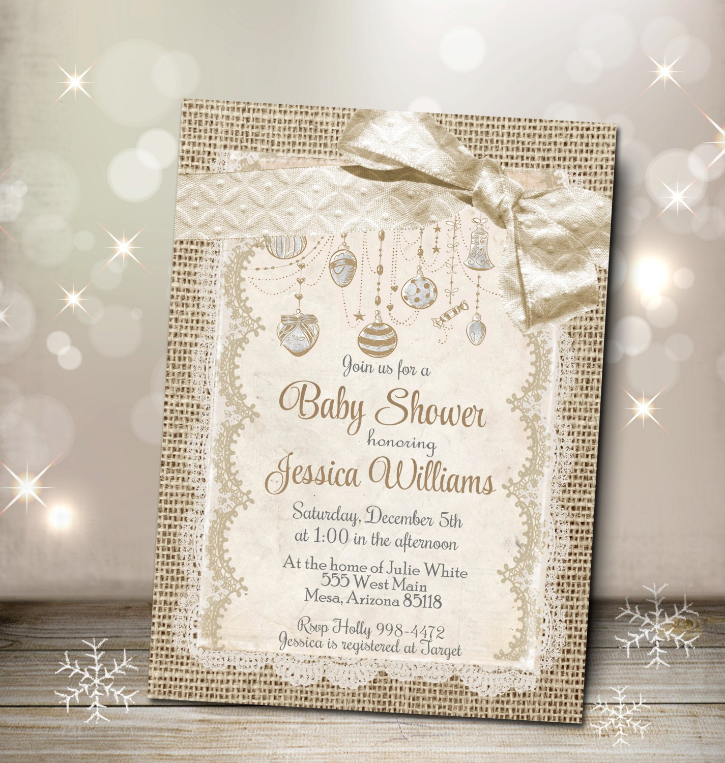 christmas baby shower invitation burlap and lace invite