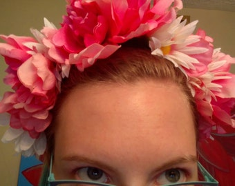 Pink Carnation and White Daisy Crown