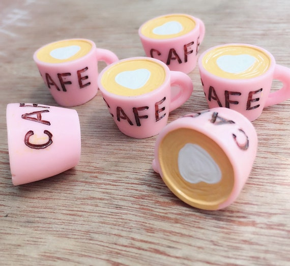 1/2 pcs.25x17mm.Miniature Cabochon Coffee Cup,Miniature Cup,Cabochon,Resin,Miniature Sweet,Mobile Accessories,Miniature coffee,DIY