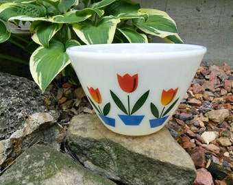 Fire King Tulip Bowl, Red and Orange Tulips, 7 1/2 x4 3/4, Splash Proof
